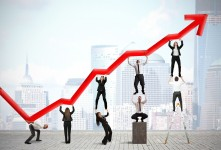 20935111 - teamwork and corporate profit with red statistical trend