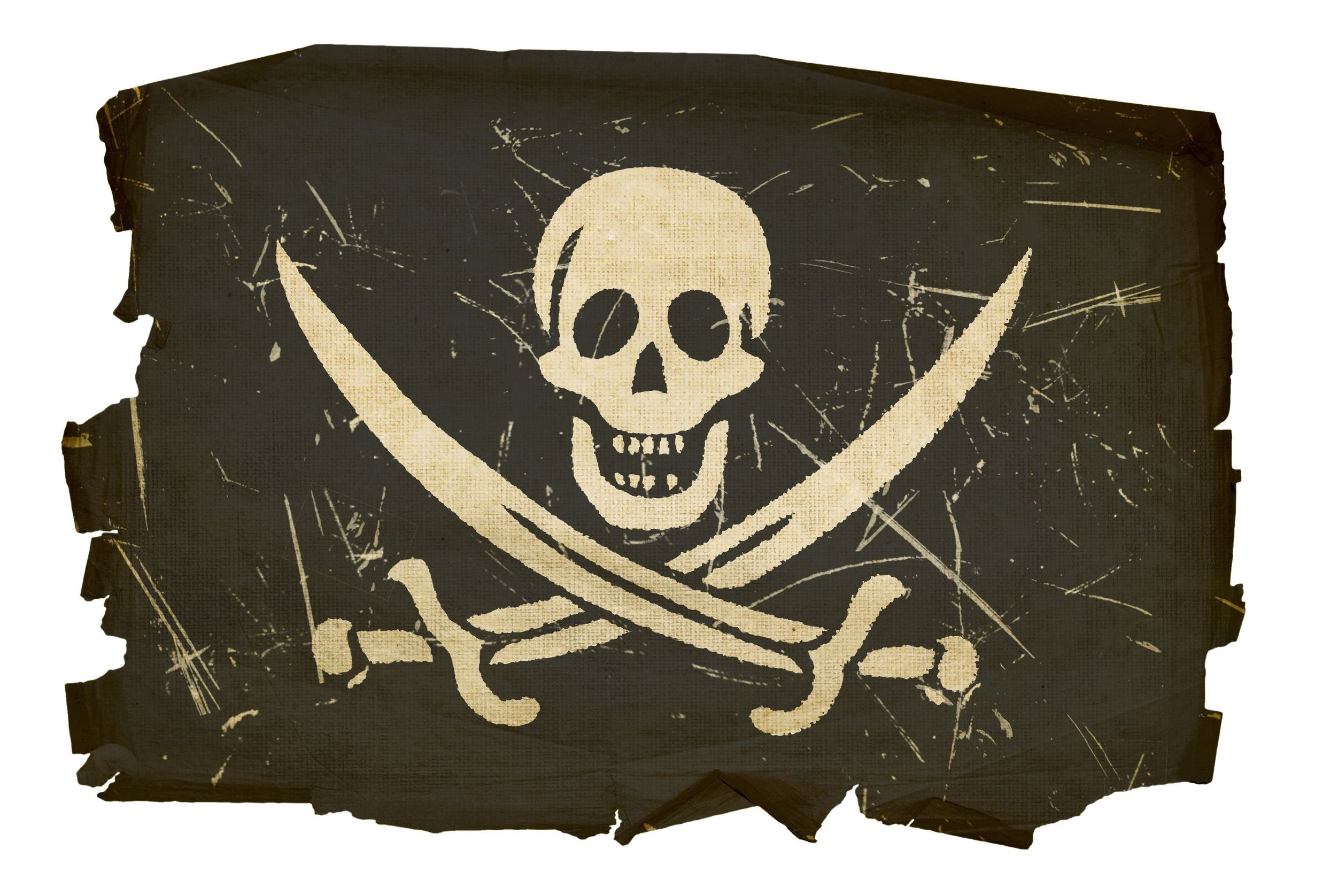 5458569 - pirate flag old, isolated on white background
