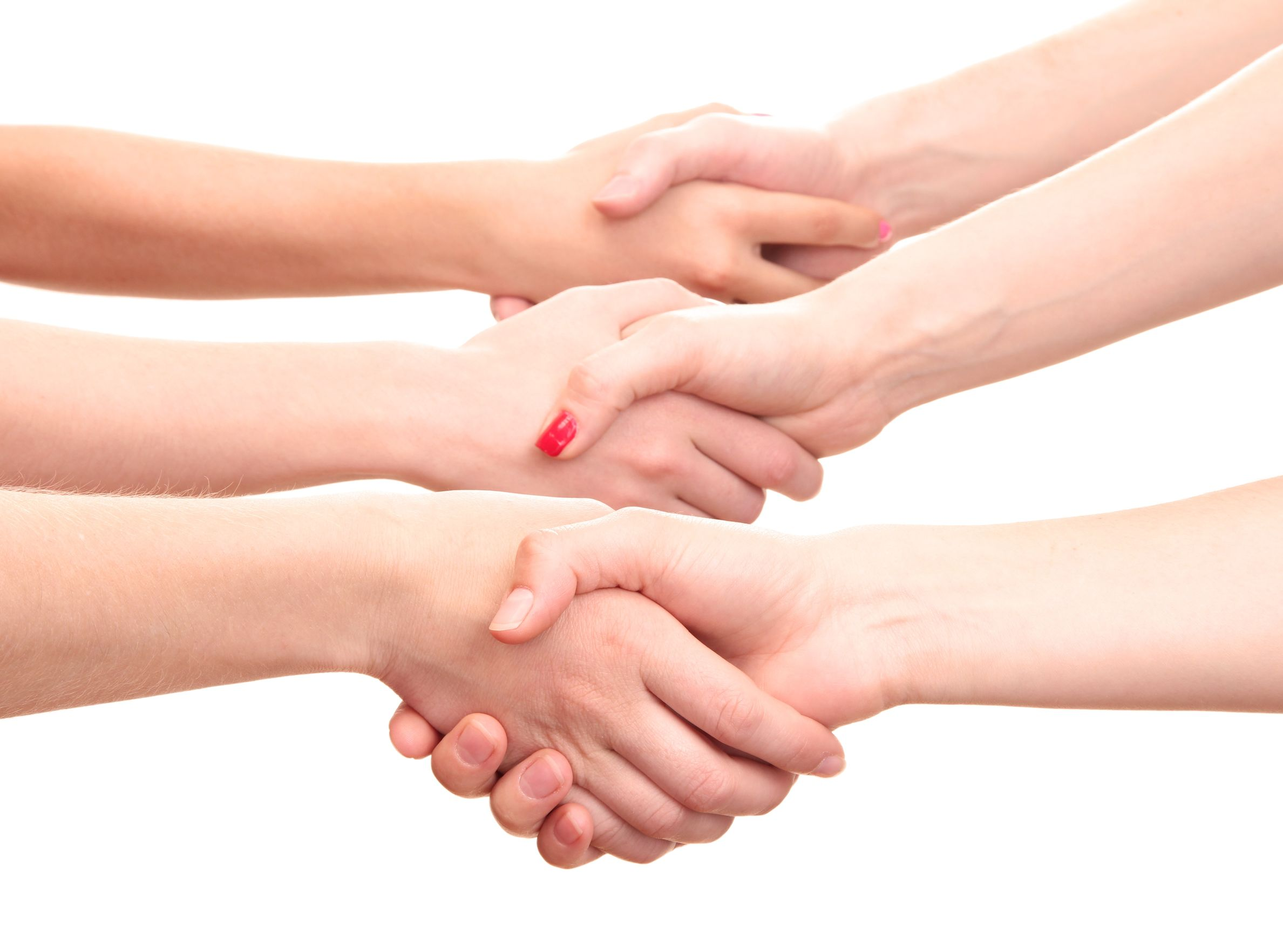 14441525 - group of young people's hands isolated on white